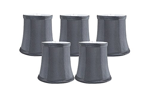 Meriville Set of 5 Gray Faux Silk Clip On Chandelier Lamp Shades, 3.5-inch by 4.5-inch by 4.5-inch ()
