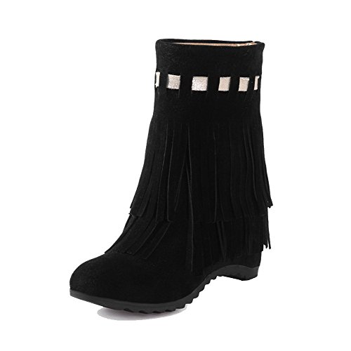 Allhqfashion Women's Frosted Pull-on Round Closed Toe High-Heels Low-top Boots Black