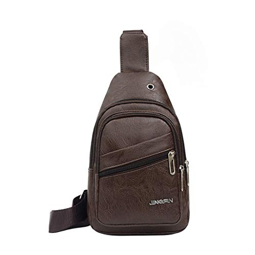 Haluoo Leather Sling Bags for Men Crossbody Backpack Multifuctional Small Shoulder Pack Sling Chest Bag Daypack Casual Business Backpack for Men Outdoor Cycling Hiking Travel (Brown) (Kipling Laptop)