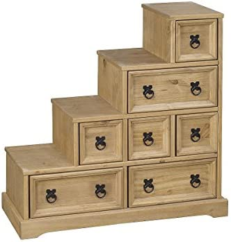 Heartlands Furniture Corona - Mueble para DVD con Forma de Escalera (Madera de Pino Encerada): Amazon.es: Hogar