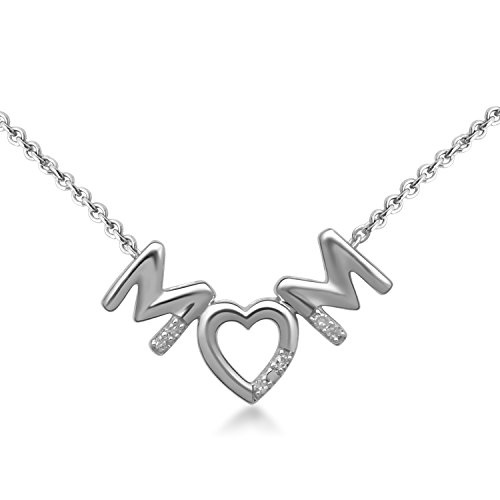 Jewelili Sterling Silver Diamond Accent Love Heart MOM Pendant Necklace, 18'' ()