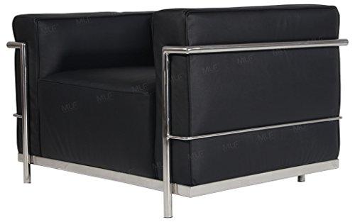 MLF Le Corbusier Style LC3 Grande Armchair Sofa, Black Premium Italian Leather