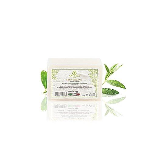 ANGONA Sapone 100% Naturale Tea Tree Oil 100g -per Pelle Impura Viso Acne Brufoli- Prodotto Italiano e Lavorazione artigianale a temperatura bassa DONNA CHIC s.r.l