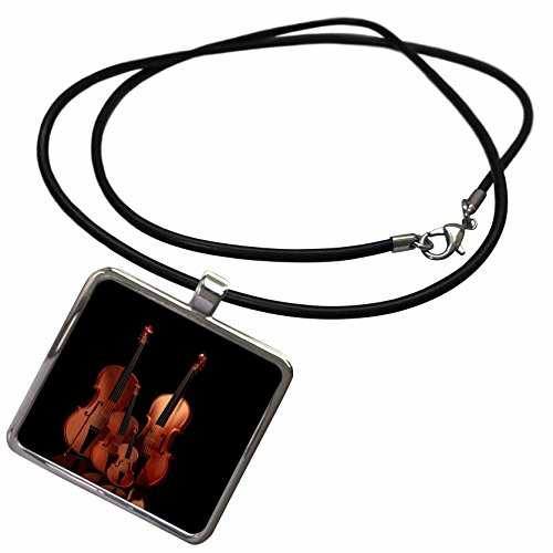 3dRose Simone Gatterwe Designs Miscellaneous - String Instruments Violin, Bass and Cello - Necklace with Rectangle Pendant (ncl_200920_1)