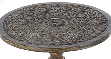 Deco 79 Wood Carved Table 21 x 17 Brown
