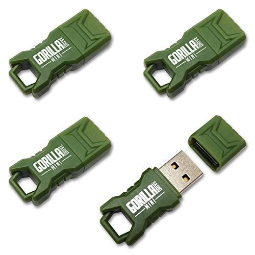 GorillaDrive Mini 16GB Green Ruggedized USB Flash Drive (4-Pack)