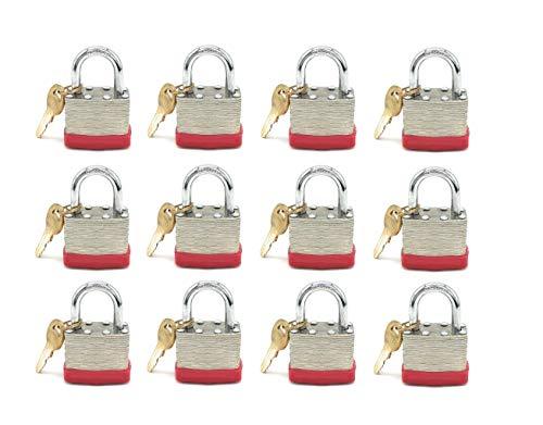 "Vault Locks 40mm Keyed Alike Laminated Steel Short Shackle Padlock, Shackle Size is 1 3/4"" Wide x 1"" Long (12 Pack)"