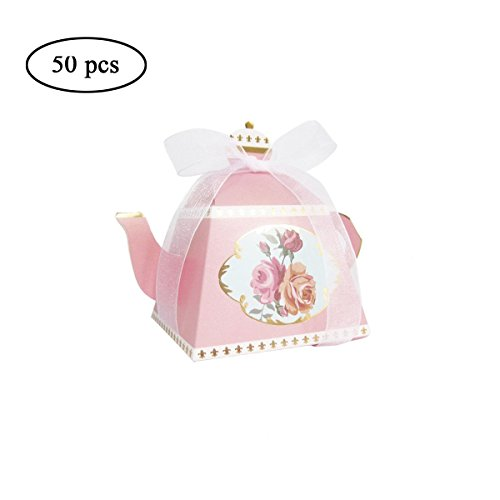 Tea Pot Box - AISHOPE 50PCS Mini Teapot Wedding Favor Boxes Bonbonniere Gift Candy Box with Ribbons for Wedding, Birthday Party Decorations, Pink