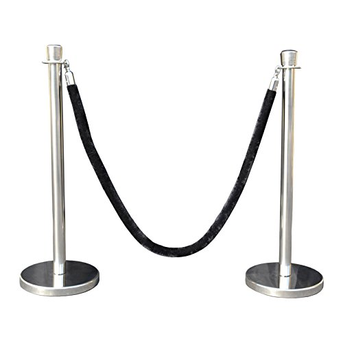 Rope Stanchion Set in 3 pcs, 72'' Black Velour Rope & Taper Top, Mirror Finished by Crowd Control Center (Image #6)