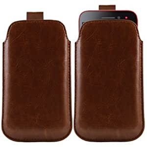 Cerhinu iTALKonline BROWN Quality PU Leather Slip Pouch Protective Case Cover with Pull Tab for Sony Ericsson LT30p xPeria...