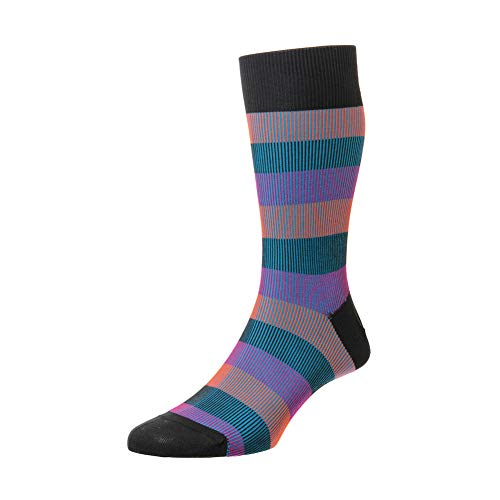 Pantherella Mens Stirling Shadow Rib Stripe Cotton Socks Pack of 1 Charcoal ()