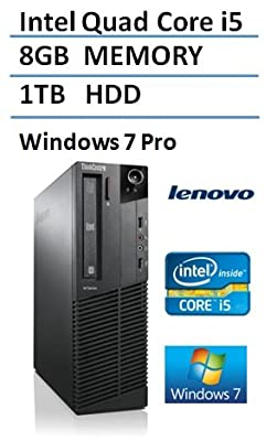 2016 Lenovo ThinkCentre M92p High Performance Small Factor Desktop Computer, Intel Core i5 CPU up to 3.6GHz, 8GB DDR3 RAM, 1TB HDD, DVDRW, Windows 7 Professional (Certified Refurbished)