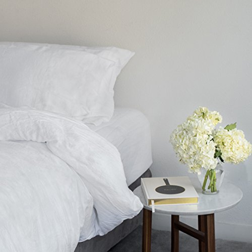 Huddleson White Vintage Washed Pure Italian Linen Sheet Set - King (Mattress Premiere Set Product)