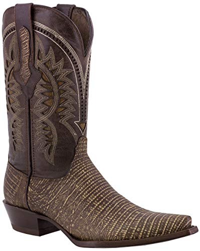 Texas A&m Pattern - Texas Legacy - Mens Rustic Sand Lizard Western Wear Cowboy Boots Pattern Leather Snip Toe 12 D(M) US