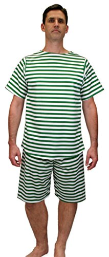 1920s Men's Bathing Suit Costume (Historical Emporium Men's 1900s Striped Bathing Suit 3X Green/White)