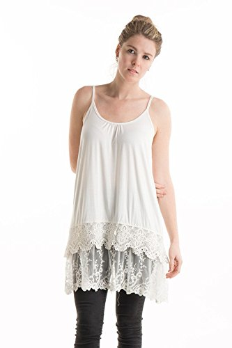 Solid Lovely Crochet Lace Layered Trim Crop Top Extender Cami Tank Top (XL, Off White)