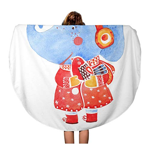 - Pinbeam Beach Towel Blue Sketch Elephant and Bird Watercolor on Winter Travel 60 inches Round Tapestry Beach Blanket