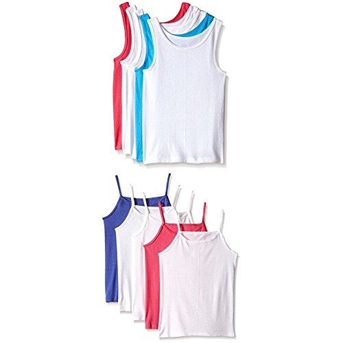 Fruit of the Loom Girls' 10-Piece Tank and Cami Set, Assorted, Small (Undershirt Girls)