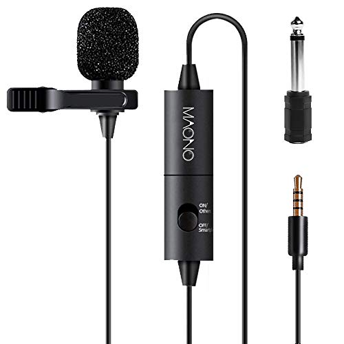 (Lavalier Microphone, MAONO AU100 Hands Free Clip-on Lapel Mic with Omnidirectional Condenser for Podcast, Recording, DSLR,Camera, Smartphone, PC,Laptop (236 in))