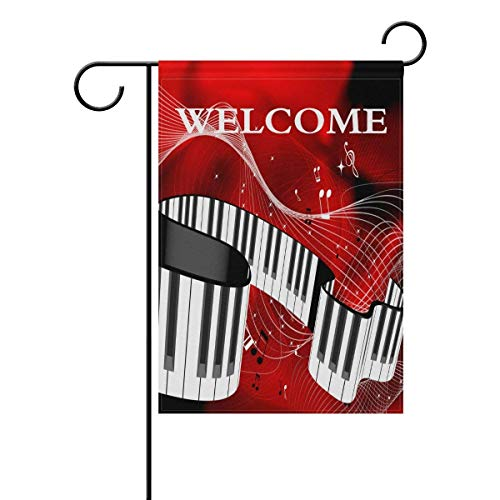 Famlal Welcome Music Piano Keys and Music Note Art Polyester Garden Flag 12x18 Inches Double Sided Welcome Home House Polyester Banner Outdoor Patio Yard Garden Decorative]()