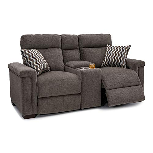 Tan Fabric Loveseat - Seatcraft Hawke Home Theater Seating Loveseat - Performance Fabric - Power Recline - Adjustable Powered Headrests - Center Storage Console - USB Charging - Cup Holders - Pillows - Jasper Tan