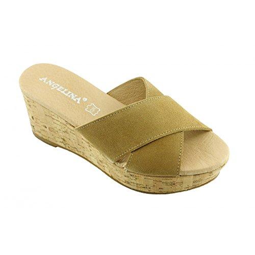 Compensé Enfiler N Fabriqué Angelina® en Espagne Talon beige Sandales Femme pour D'Été JEIDA Mule Bloque Semelle A Marque Cuir TSTOYz