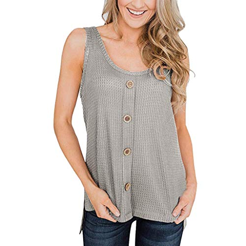 (Camisole for Teen Girls Sexy Ladies Summer Waffle Knit Tunic Blouse Knot Button Tops Loose Fitting Shirts Blouse Teens Gray )