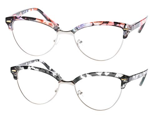 SOOLALA Womens Mens Fashion Designer Semi-rimless Cat Eye Reading Glasses, FloralGray, 2.25x ()