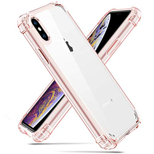 iPhone Xs Max Case, Hocase Drop Protection Scratch-Resistant Clear Hard Back+Reinforced TPU Rubber Corners Slim Fit Hybrid Protective Case Cover for iPhone Xs Max 6.5-inch 2018 - Rose Gold