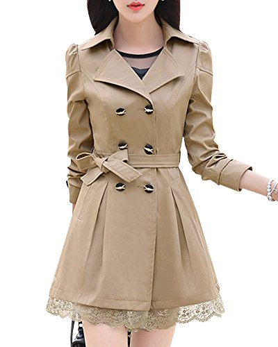 Double Ceinture Dentelle DianShao Manteau Kaki en Breasted Hem Long Trench Bowknot Zq4Awpxd4