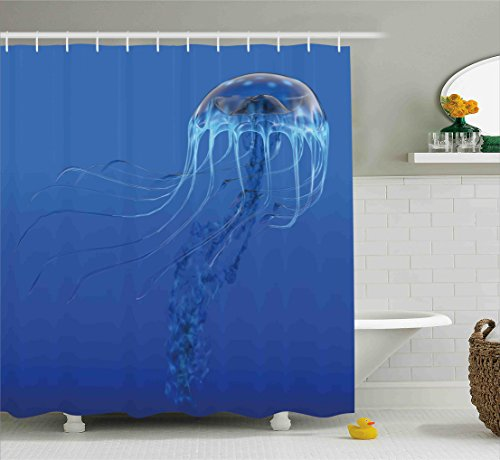 Jellyfish Shower Curtain Set by Ambesonne, Blue Spotted Jelly Fish Aquarium Life Marine Animals Ocean Predator in Deep Water Aquatic, Fabric Bathroom Decor with Hooks, 84 Inches Extra Long, Blue