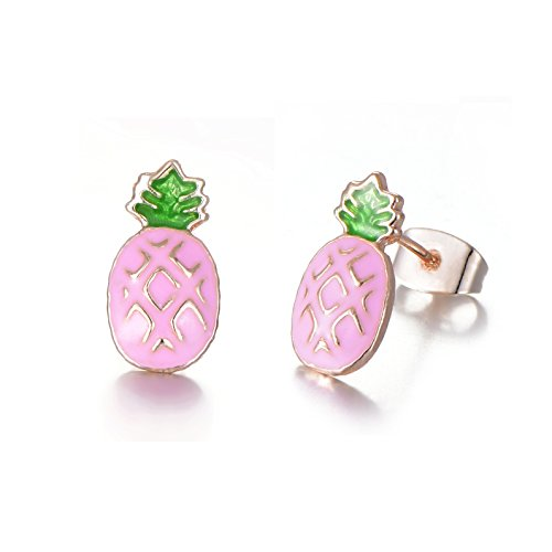 Rose Gold Plated Stainless Steel Mixed Color Cute Pineapple Mouse Love Parrot Ladybug Stud Earrings Set by HYZ (Image #4)