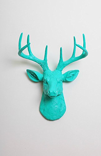 Deer Head Wall Mount - The Mini Penelope By White Faux Taxidermy | Miniature Resin Stag Animal Head Wall Mount with Antlers | Hanging Wall Sculpture Home Decor (Wall Mount Sculpture)