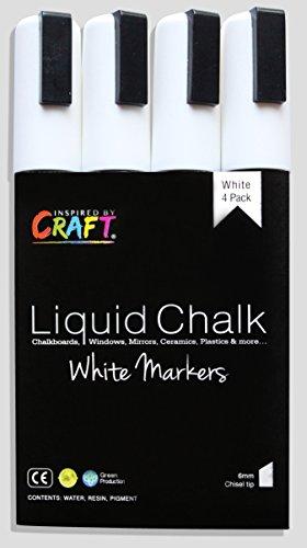 Inspired By Craft Bright White Liquid Chalk Markers Best for Kids Craft, Teacher Supplies, Bistro Chalkboard, Premium Chalk Ink, 6mm, Chisel Tip, 4 Piece ()