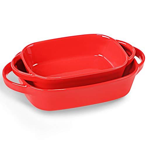 LEETOYI Porcelain Bakeware Set 2 Size, Rectangular Baking Dish with Double Handle,Ceramics Baking Pans for Kitchen…