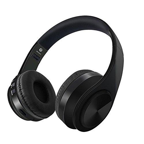 Gerleek Over Ear Bluetooth Headphone with Mic Workout 40mm Driver Foldable HiFi Wireless Headset PC Cell Phones TV Travel Kids Black