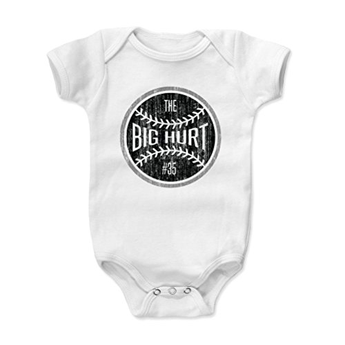(500 LEVEL Frank Thomas Baby Clothes, Onesie, Creeper, Bodysuit 12-18 Months White - Vintage Chicago Baseball Baby Clothes - Frank Thomas Big Hurt Ball K)