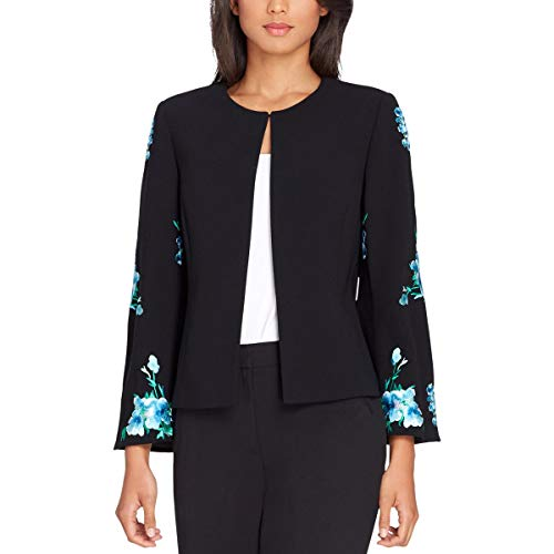(Tahari Womens Embroidered Floral Open-Front Blazer Black 12)