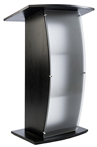 Black Ash Veneer - Displays2go Podium Stands with Frosted Front Panel, Acrylic, Plywood, Ash Wood Veneer – Black, Frosted (FLCTSHLFBKA)