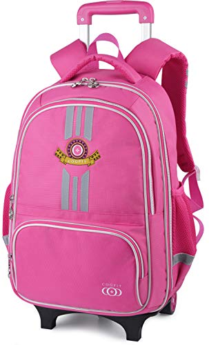 Rolling Backpack, COOFIT Wheeled Backpack School Kids Rolling Backpack With Wheels (Pink1)
