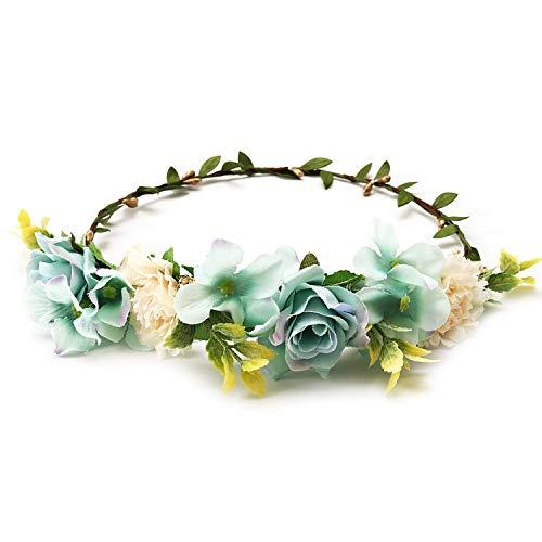 Bride Women Flower Crown Hair Band Wedding Floral Headband Garland Ribbon Bow Girl Flower Wreath Elastic Hair Accessories,Antique Bronze Plated