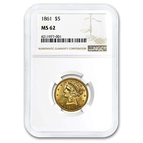 1861 $5 Liberty Gold Half Eagle MS-62 NGC G$5 MS-62 NGC
