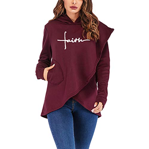 Women's Faith Hoodies Asymmetric Hem Wrap Casual Long Sleeve Hooded Pullover Sweatshirt with Pocket (S, Wine) -