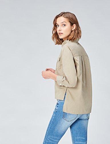FIND Camicia Verde in Cotone Donna Khaki wTaqwzvxB