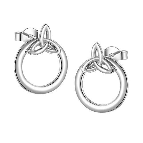 - Ladytree Sterling Silver Celtic Knot Circle Ear Jacket Earrings Back Ear Cuffs Chic Stud Earring Gift for Women Girls