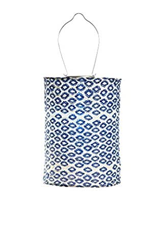 Allsop Home and Garden Soji Tribal Cylinder, LED Outdoor Solar Lantern, Handmade with Weather-Resistant UV Rated Fabric, Stainless Steel Hardware, Chinese Style Light, - Allsop Led Solar Lantern