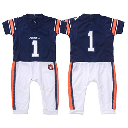 (FAST ASLEEP NCAA Auburn Tigers Boys Infant Football Uniform Pajamas, 0-3 Months, Navy/White)