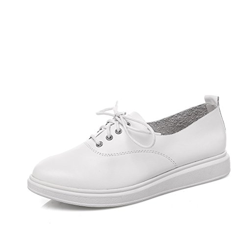 White Up Womens Round Lace Toe SDC04977 Weight Leather Casual Loafers Light AdeeSu Shoes wHqI7xdfq