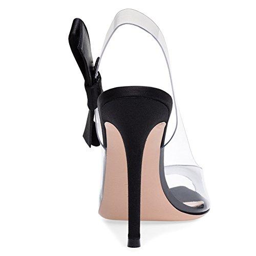 YC High Damen PVC Transparent Party Toe Funkelnd L Outdoor Peep Black Hochzeit Heels dZEEq