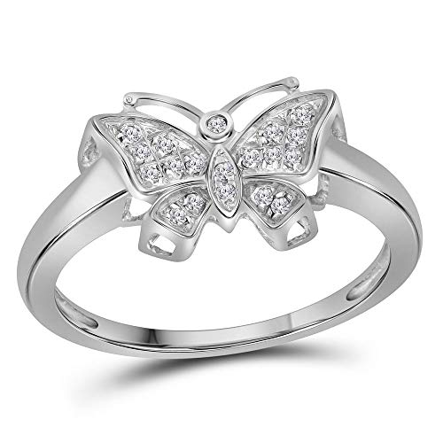 Jewels By Lux 10kt White Gold Womens Round Diamond Butterfly Bug Cluster Fashion Ring 1/12 Cttw In Prong Setting (I2-I3 clarity; I-J color)